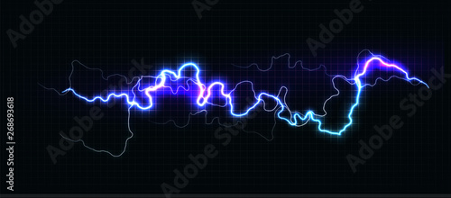 Canvas Print Lightning various colors, glowing thunderbolt and brightning power shock magic lines on black background