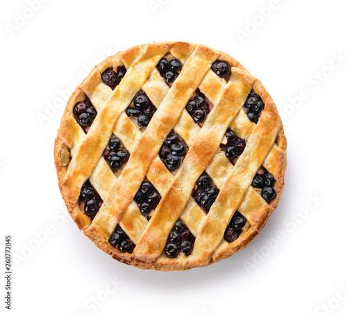 Tasty blueberry pie on white background