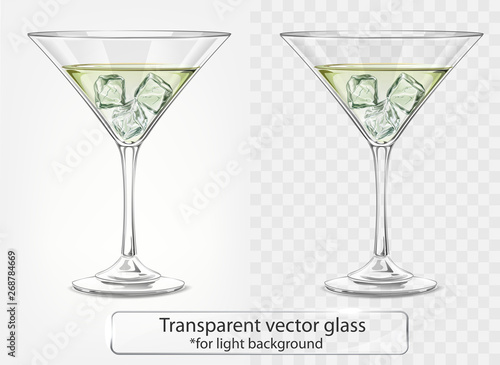 Transparent vector glass with Martini and ice for light background