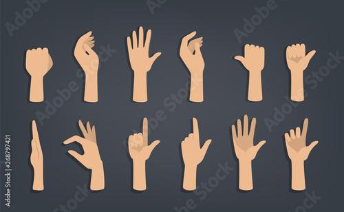 Obraz na płótnie Set of hands showing different gestures.