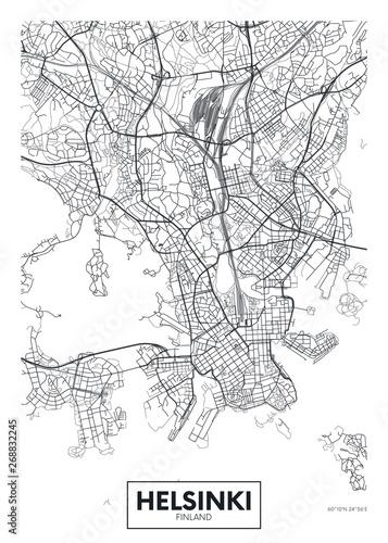 Photo City map Helsinki, travel vector poster design