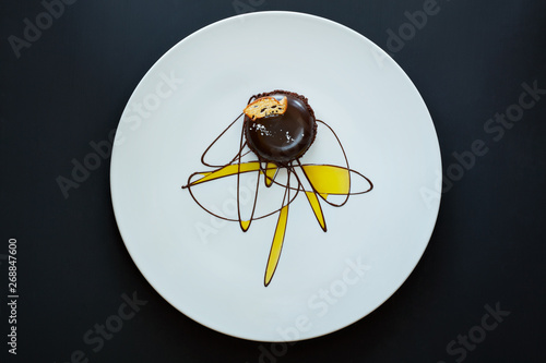 Gourmet chocolate and olive oil dessert