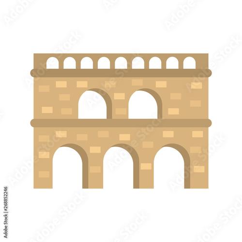 Fotografiet Roman aqueduct color vector icon. Flat design