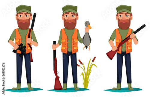 Tableau sur Toile Hunter man cartoon character
