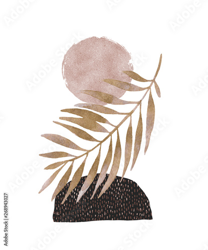 Abstract poster design: minimal shapes, glossy golden tropical leaf.