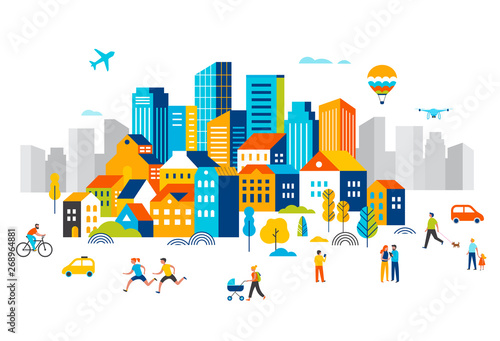 Foto Smart city, landscape city centre with many building, airplane is flying in the sky and people walking, running in park