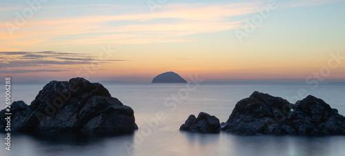 Fotografering ailsa craig,background,beach,beautiful,beauty,blue,cloud,clouds,coast,evening,fi