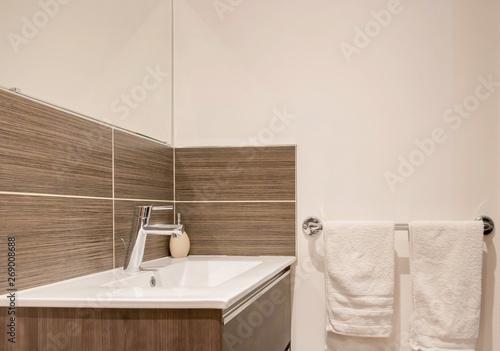 Fotografija Lavabo moderne dans une salle de bain avec carrelage mural marron