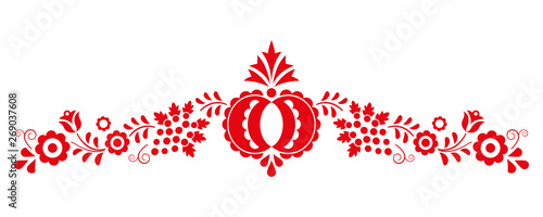 Photo Traditional folk ornament, the Moravian ornament from region Slovacko, floral em