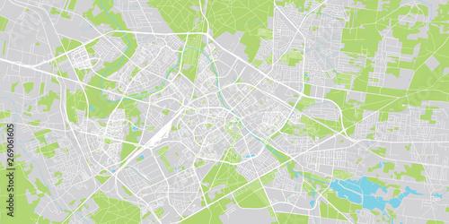 Obraz na plátně Urban vector city map of Bialystok, Poland