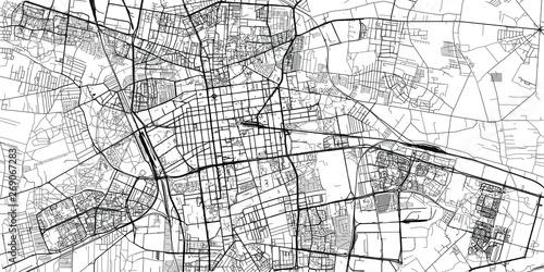 Obraz na płótnie Urban vector city map of Lodz, Poland