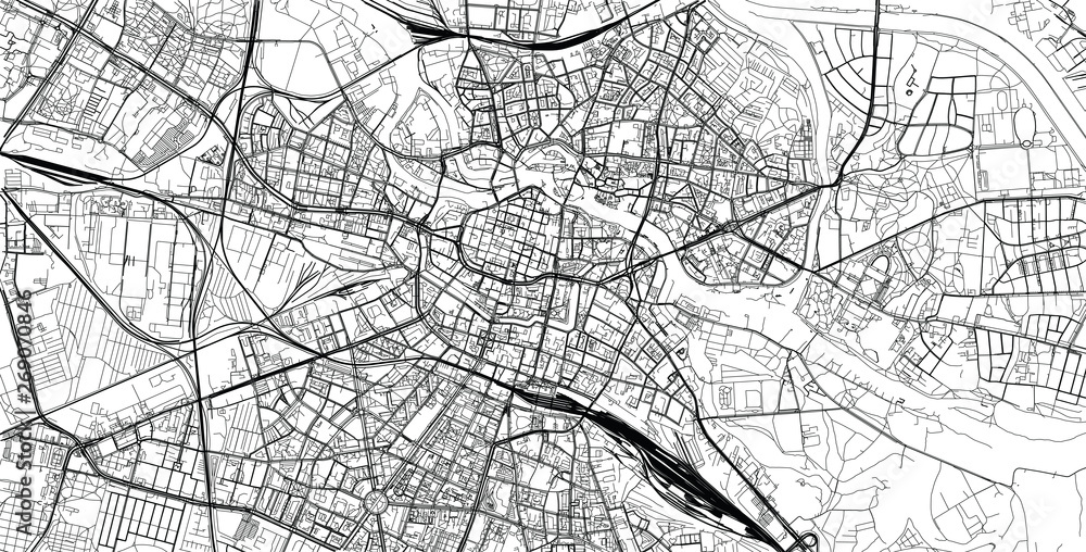 Urban vector city map of Wroclaw, Poland