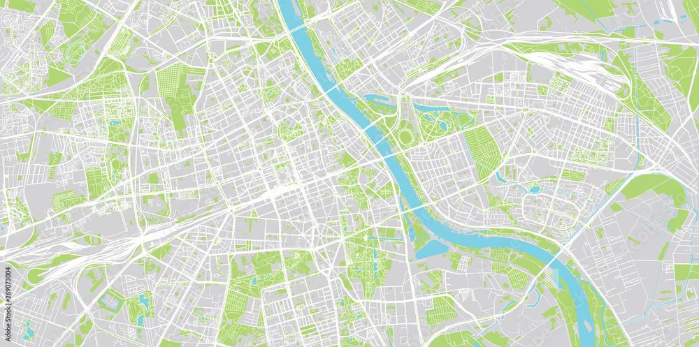 Mapa miasta miejski wektor Warszawa, Polska <span>plik: #269073004 | autor: ink drop</span>