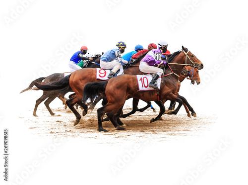 Canvas-taulu horse racing jockey isolated on white background