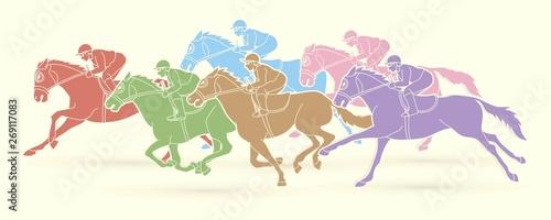 Fényképezés Group of Jockeys riding horse, sport competition cartoon sport graphic vector