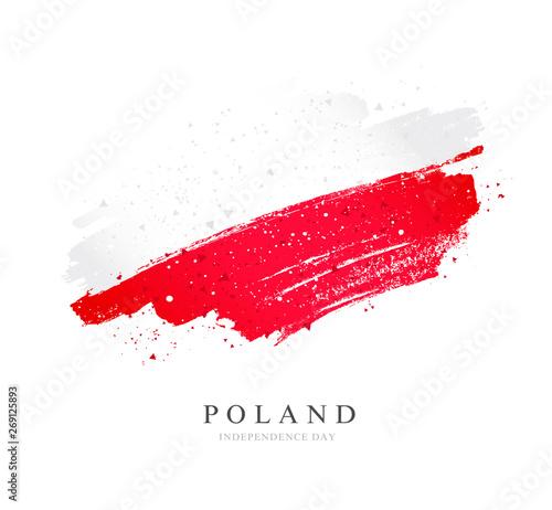 Fototapeta Flag of Poland. Vector illustration on white background.