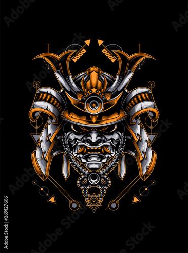 Wallpaper Mural samurai head with sacred geometry pattern