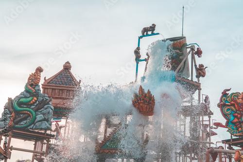 Water Splashing from Ramayana Water Park in Pattaya, Thailand. Fototapeta