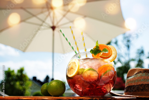 Sangria cocktail in the summer