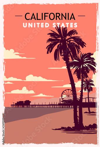 Cuadros en Lienzo California retro poster. USA California travel illustration.