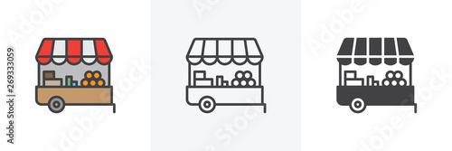 Fotografie, Obraz Farmers market stall icon
