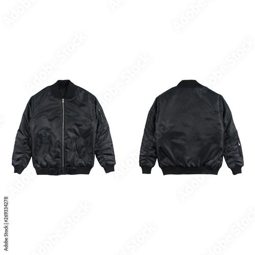 Fényképezés Blank plain bomber jacket isolated on white background
