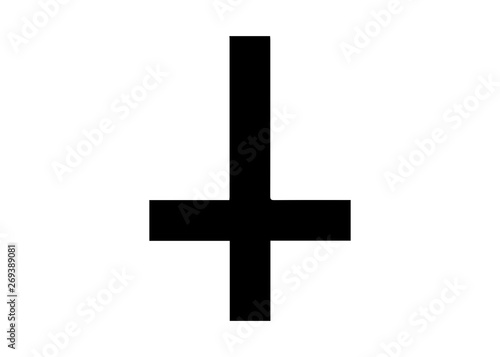 Canvas Print The Cross of Saint Peter or Petrine Cross is an inverted Latin cross traditionally used as a Christian symbol, but in recent times also used as an anti-Christian symbol