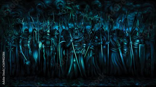 Fotografia, Obraz Dark ages warriors banner/ Illustration fantasy group of medieval warriors, gloomy skies in the background