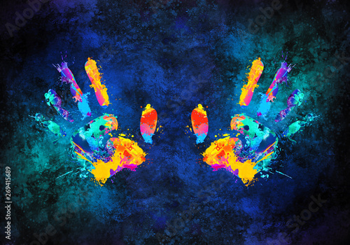 Leinwand Poster Abstract Artistic Multicolored 3d Rendering Illustration Of Hands