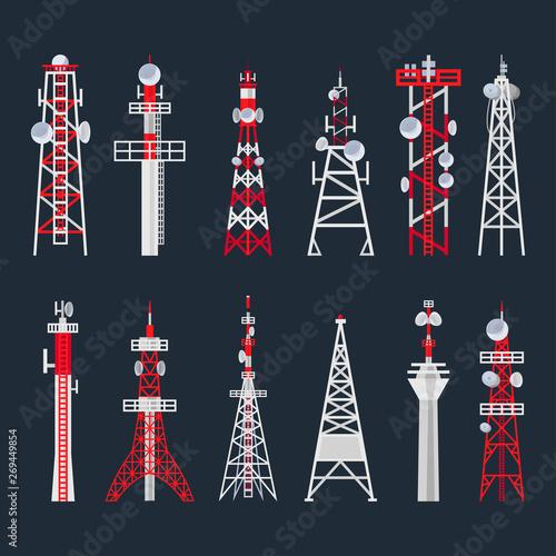 Photo Radio tower set, media and information technology