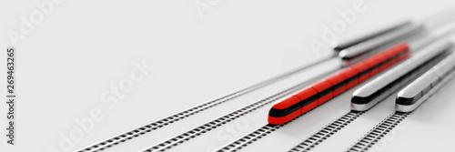 Obraz na płótnie High speed rail transport concept, original 3d rendering