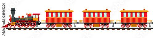 Obraz na plátně Vintage train on railroad vector design illustration isolated on white backgroun