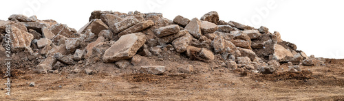 Fotografie, Obraz Isolated views of concrete debris piles on the ground.