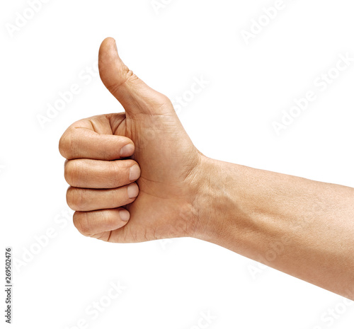 Photo Man's hand showing thumb up - like sign, isolated on white background