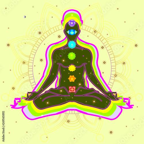 Foto Meditating human in lotus pose in universe beside the stars