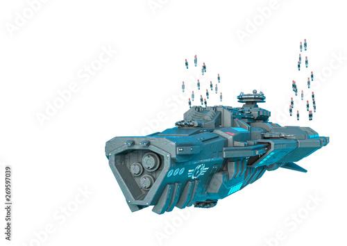 Obraz na plátně alien mothership sending missile in a white background
