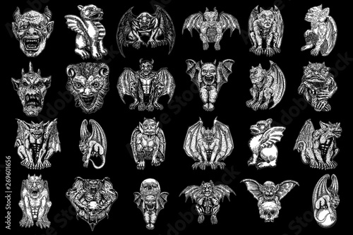 Set of mythological ancient creatures animals with bat like wings and horns Fototapeta