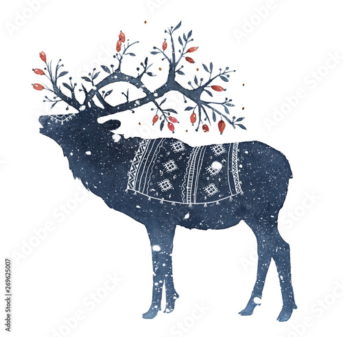 Fototapeta Watercolor illustration of deer with magic horns in the snow isolated on white b