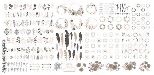 Big set with wreath, design elements, frames, calligraphic Fototapet