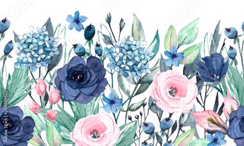 Obraz premium Bezszwowe granica akwarela z niebieskie i różowe kwiaty, liście. Szybka izolacja. Idealnie nadaje się na kartki okolicznościowe, wesele, zaproszenia na przyjęcie, projekty komercyjne.