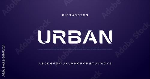 Murais de parede sport future curve, wave modern alphabet fonts