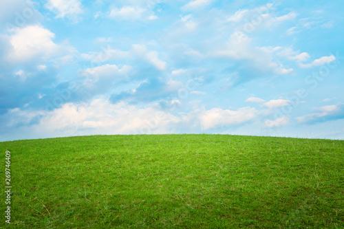 Fotografie, Tablou Beautiful simple hill landscape with clouds background