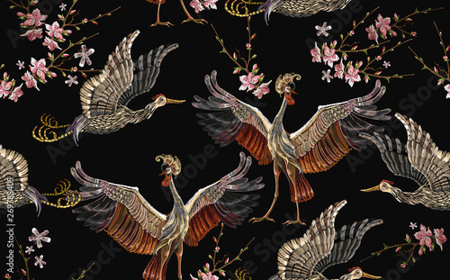 Tablou Canvas Embroidery crane birds and sakura flowers seamless pattern