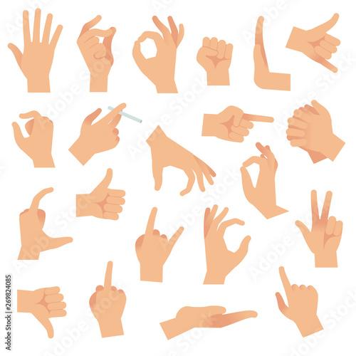 Obraz na płótnie Flat hand gestures