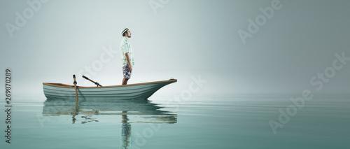 Billede på lærred Man in a boat
