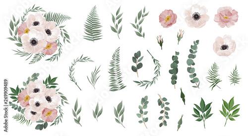 Fotografering Set of floral branch