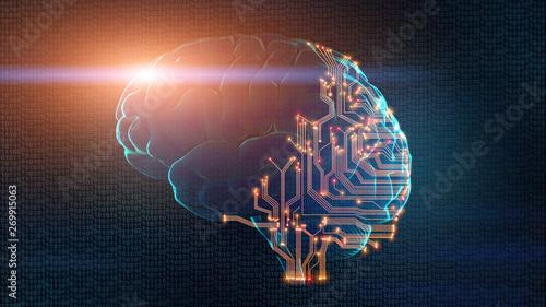 Fotografía Human brain partially consists of circuit board