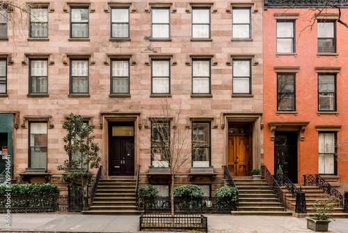 Stampa su Tela Brownstone facades & row houses  in an iconic neighborhood of Brooklyn Heights i
