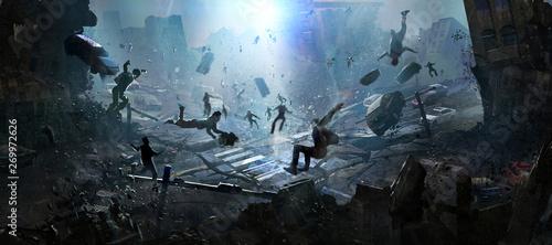 Foto The doomsday scene of a catastrophe, digital illustration.