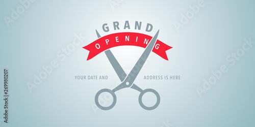 Billede på lærred Grand opening vector illustration, background with scissors cutting red ribbon